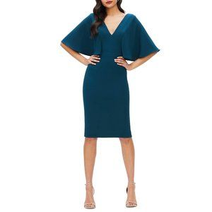 DRESS THE POPULATION Louisa Butterfly Sleeve Cocktail Dress Blue Small (4-6) NEW